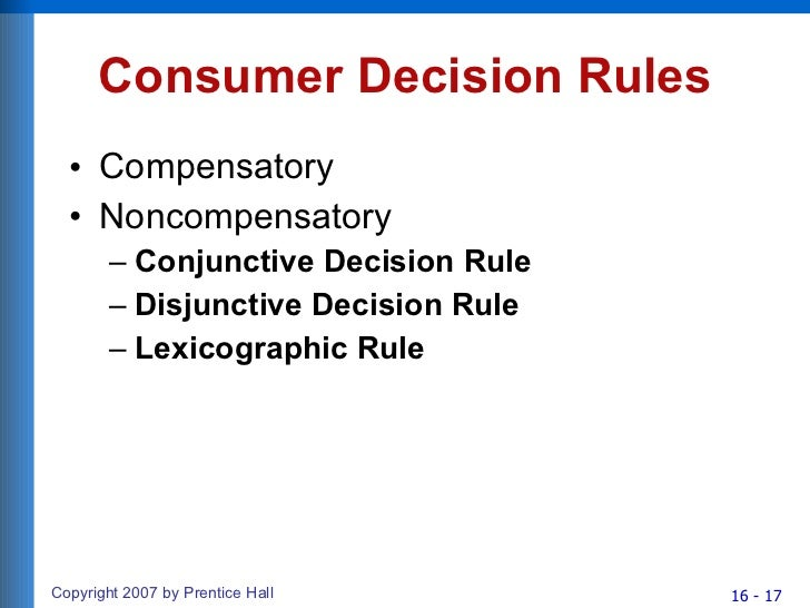 application of compensatory decision rule