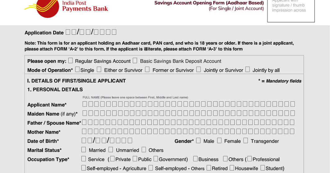 bank account opening application india