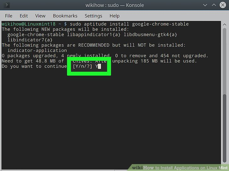 command to update application linux
