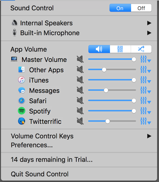 how to disable sound on certain applications mac