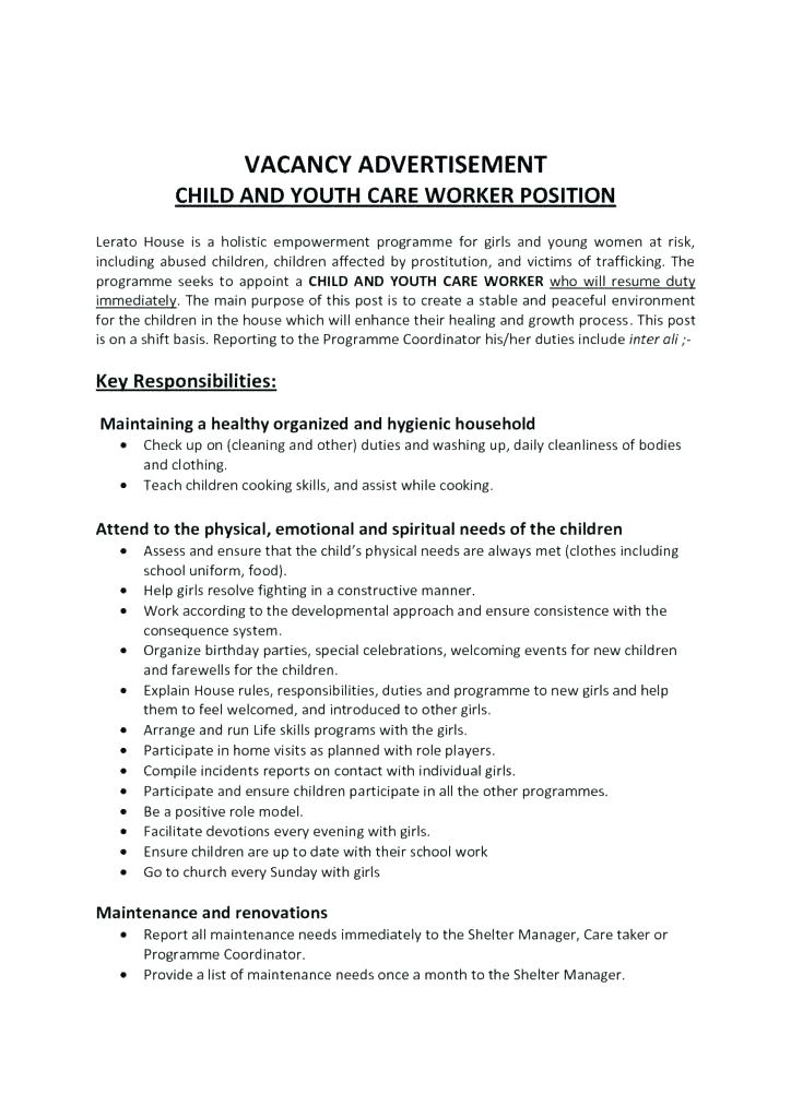 sample cover letters for care worker job applications
