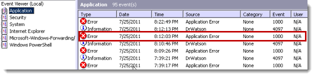 windows event log application hang